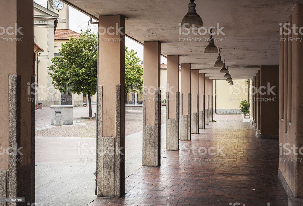 Portico With Coloumns In Italian Village stock photo