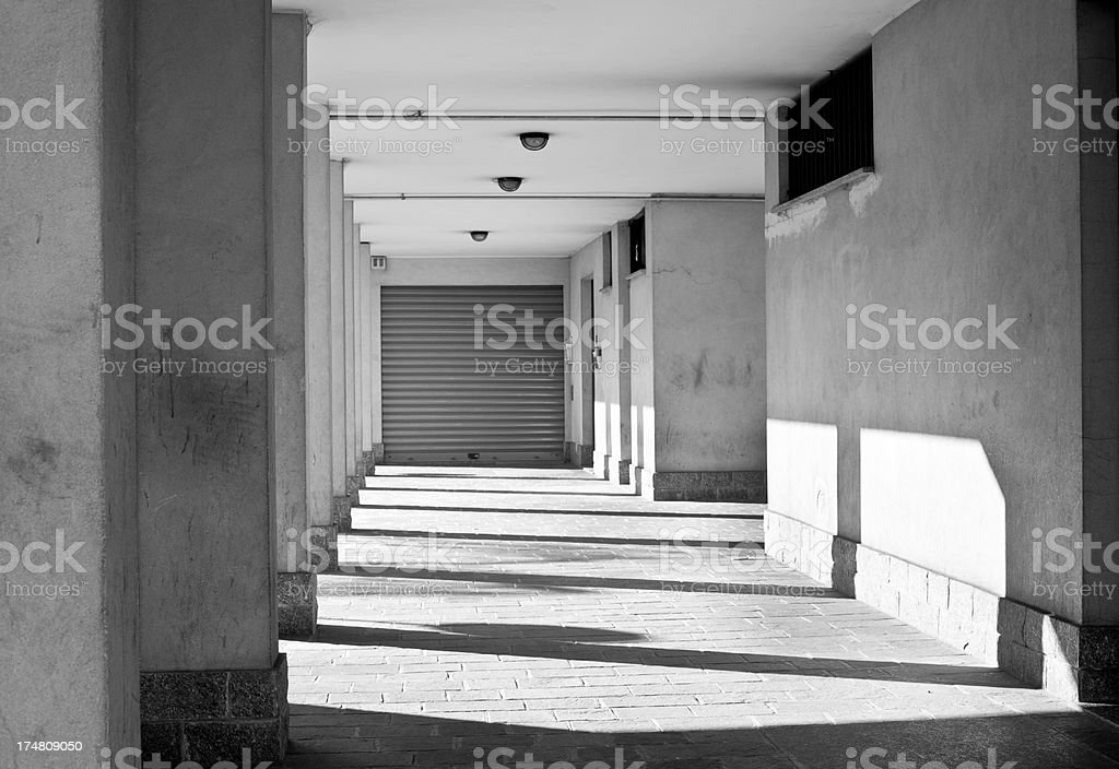 Portico With Shadows Of Coloumns, Black And White stock photo