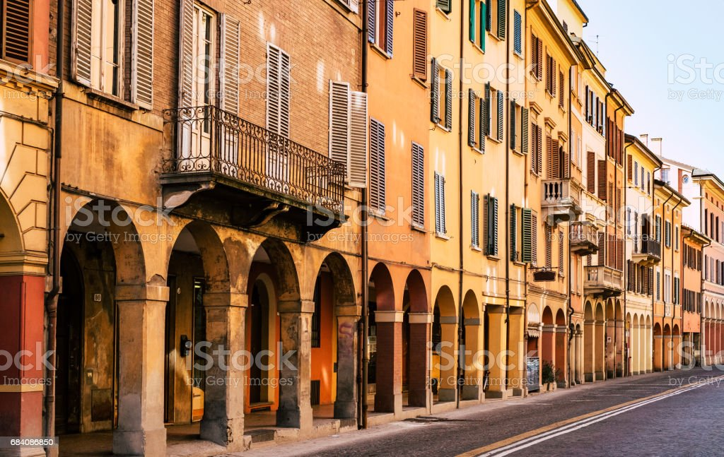 Porticoes in Bologna. Emilia-Romagna, Italy. stock photo
