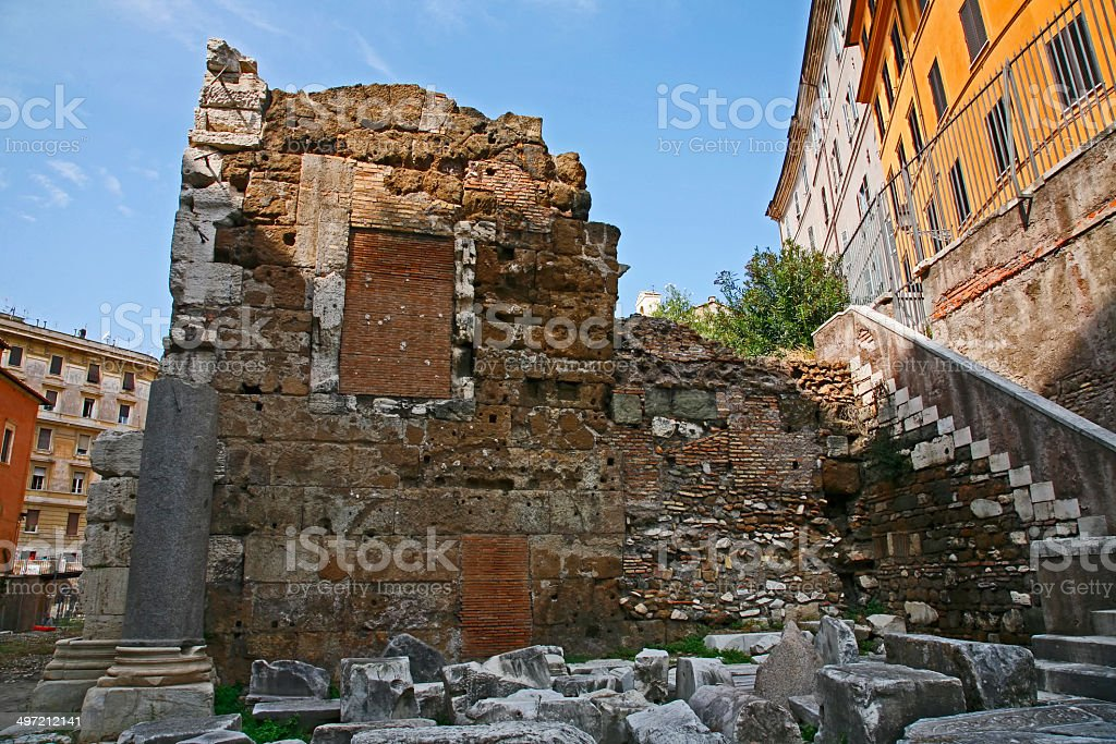 Porticus Octaviae ancient Roman structure in Rome Italy stock photo