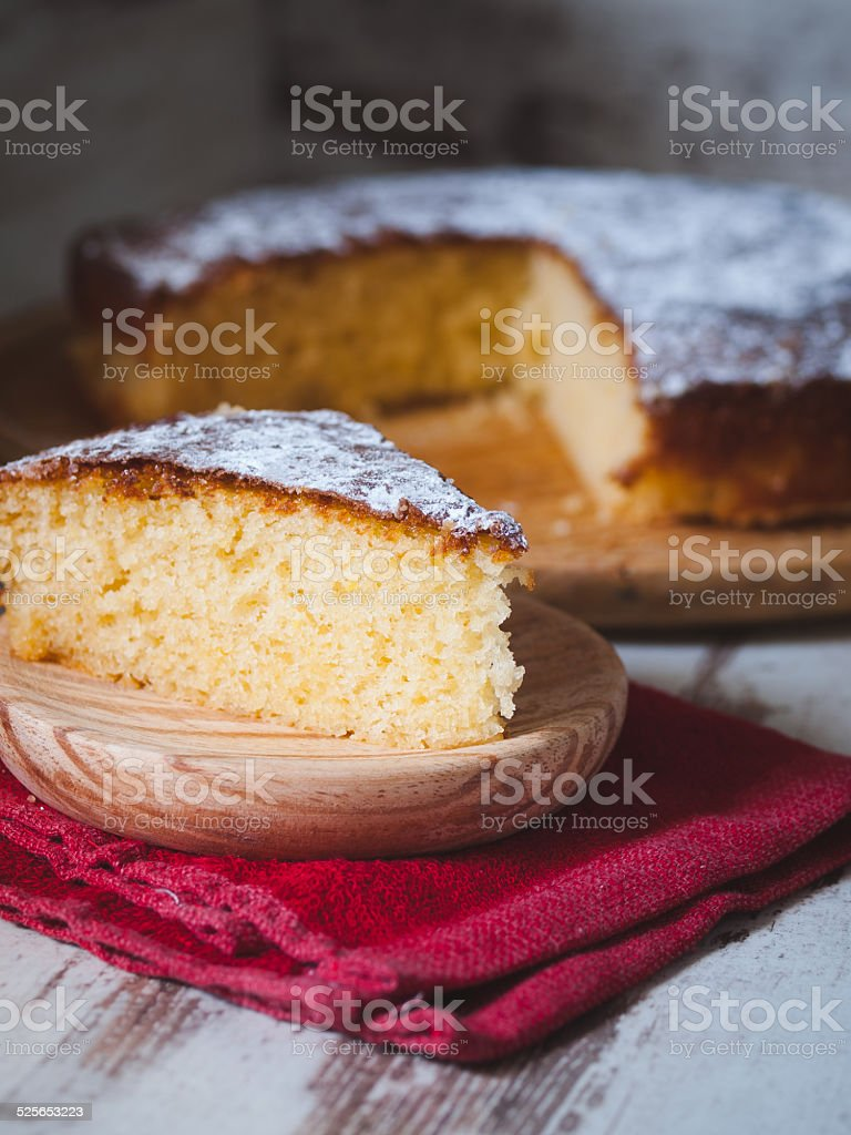 Portion of a sponge cake stock photo
