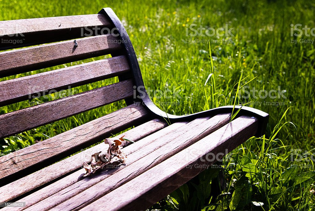 Portion of Bench with Leaf, Grass Background royalty-free stock photo