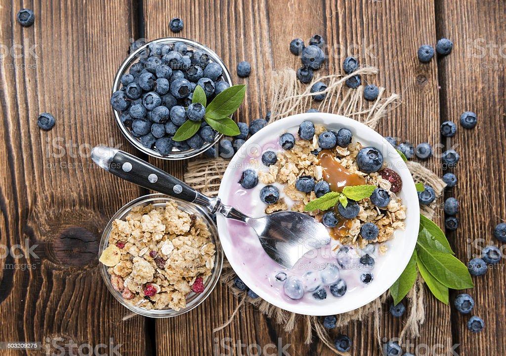 Portion of Blueberry Yogurt stock photo