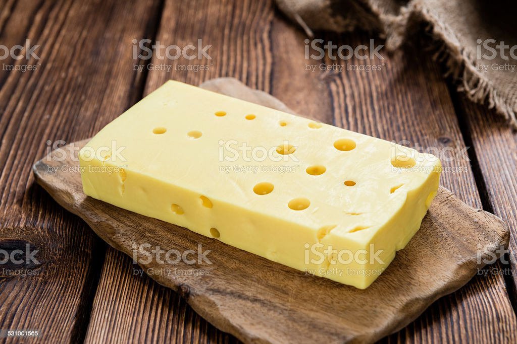 Portion of Cheese (close-up shot) stock photo