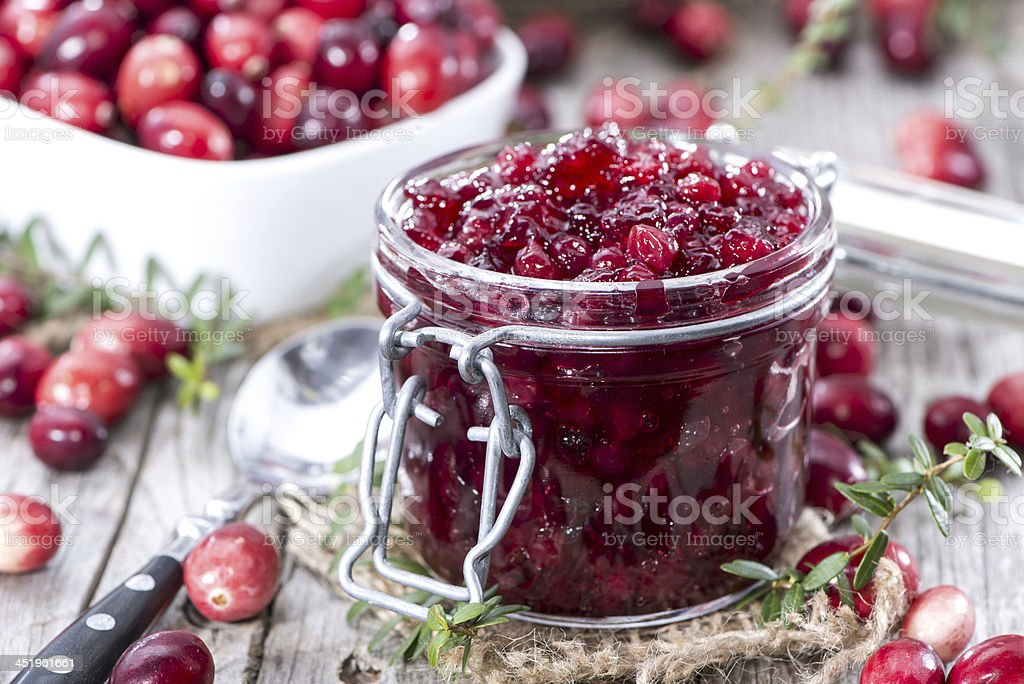 Portion of Cranberry Jam stock photo
