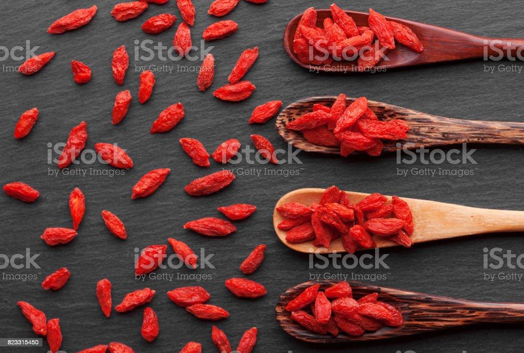 Portion of dried Goji Berries stock photo