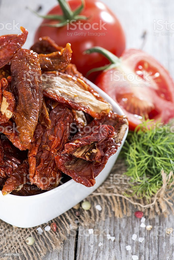 Portion of dried Tomatoes stock photo
