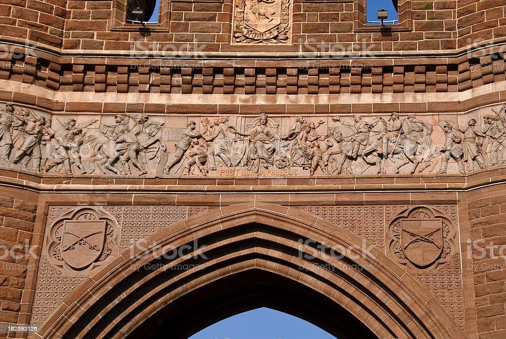 Portion of Fieze Civil War Memorial Arch in Hartford stock photo