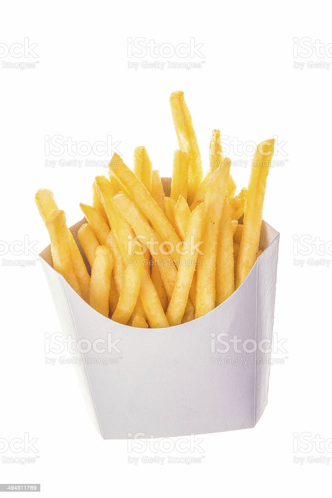 portion of french fries in paper wrapper stock photo
