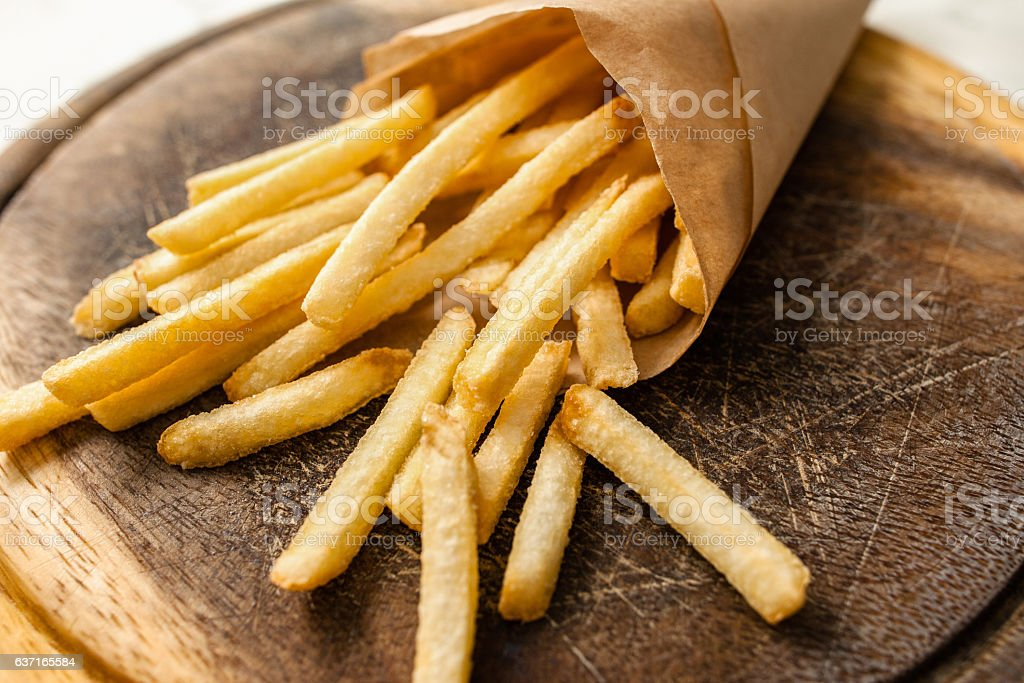 Portion of french fries on catering platter stock photo