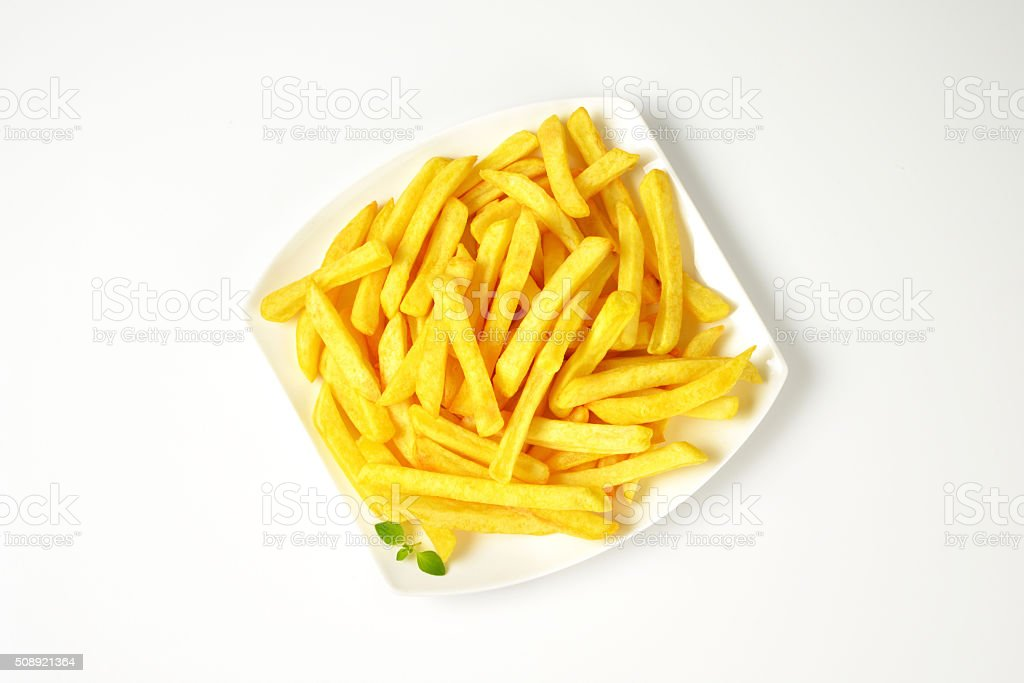 portion of French fries stock photo