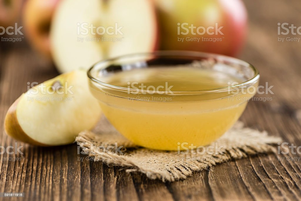 Portion of fresh made Applesauce (selective focus) stock photo