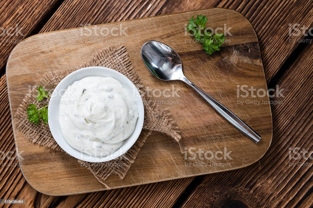 Portion of fresh made Sour Cream stock photo