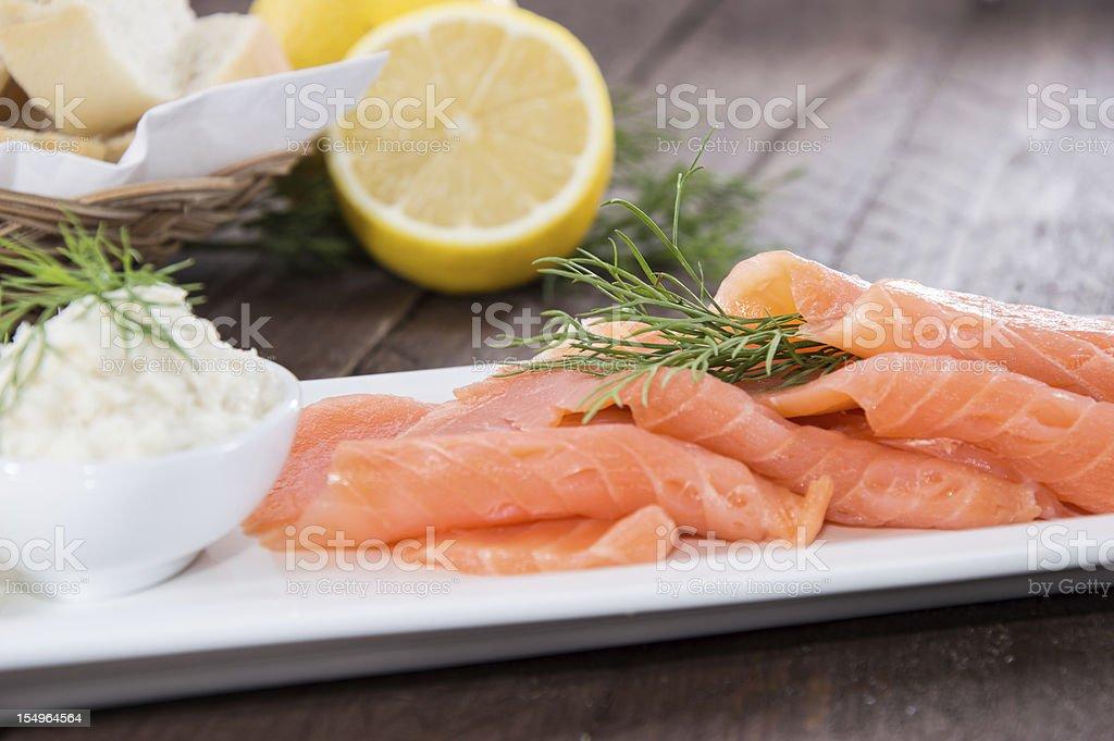 Portion of fresh Salmon stock photo