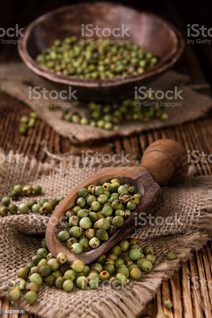 Portion of Green Peppercorns stock photo