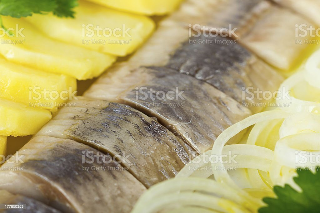 Portion of herring fish fillets with potato and onion royalty-free stock photo