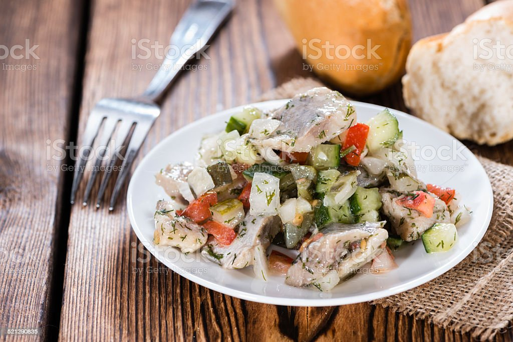 Portion of Herring Salad stock photo