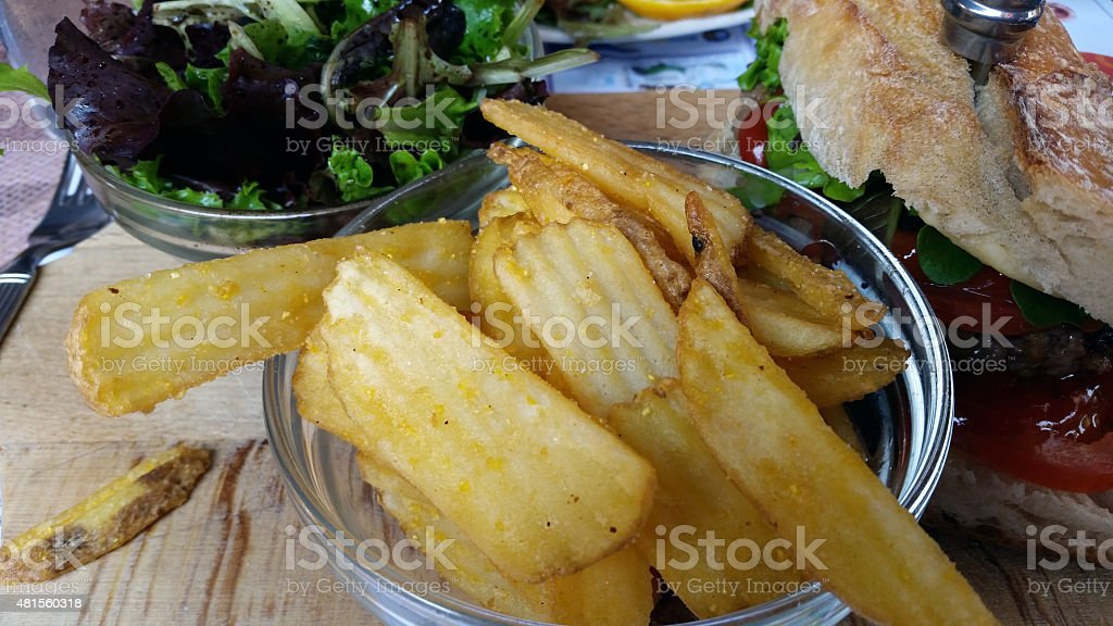 Portion of Homemade French Fries stock photo