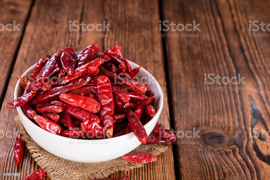 Portion of red Chillis stock photo
