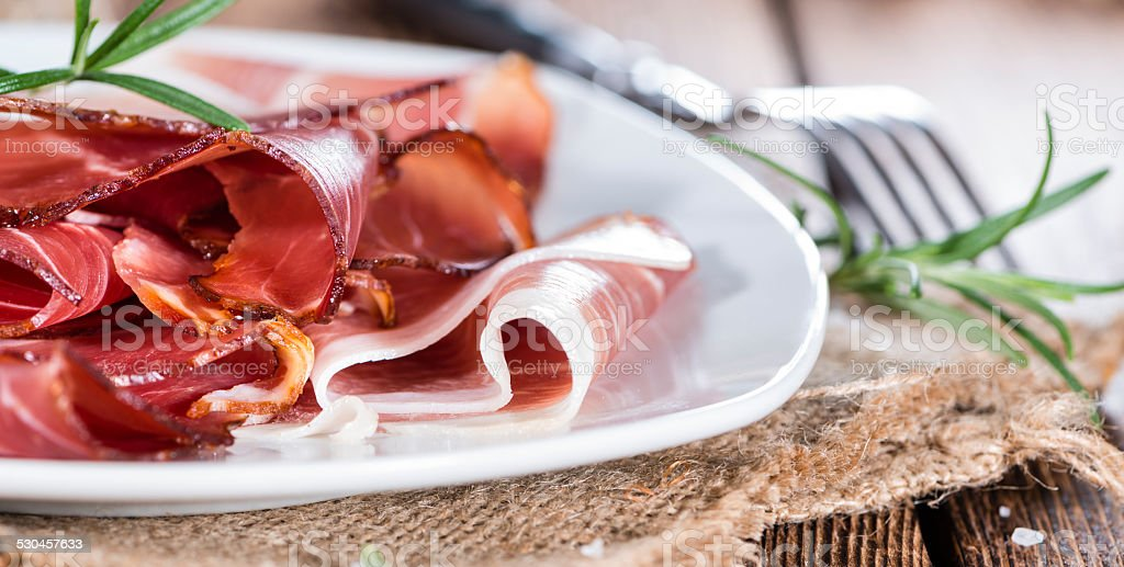 Portion of sliced Ham stock photo