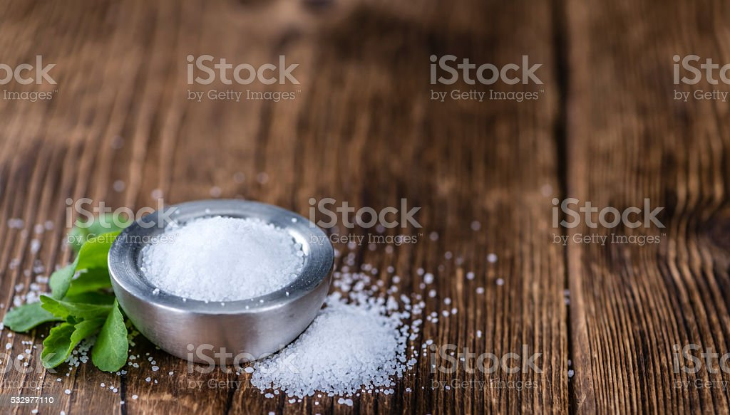 Portion of Stevia Granules (selective focus) stock photo