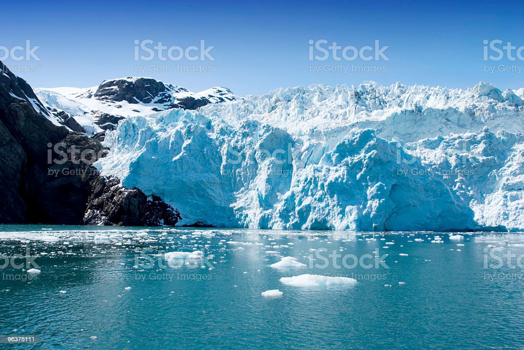 Portion of the Hubbard Glacier in Alaska and Yukon stock photo