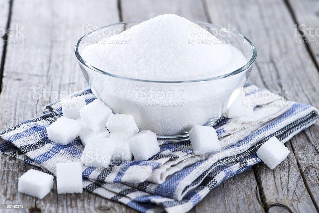 Portion of white sugar stock photo