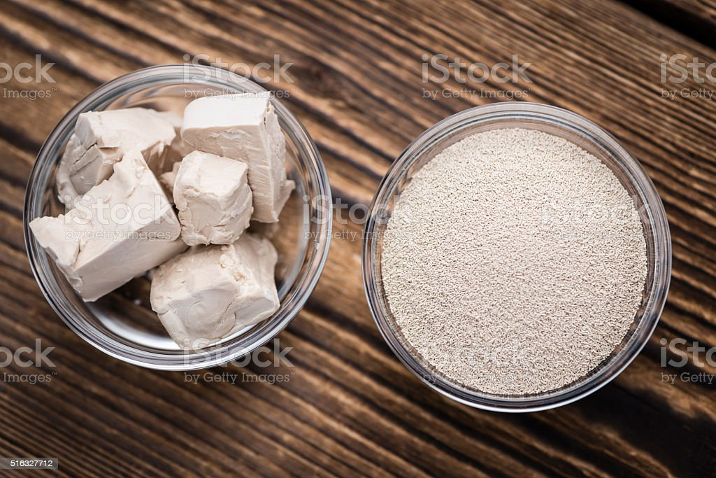 Portion of Yeast (fresh and dried) stock photo