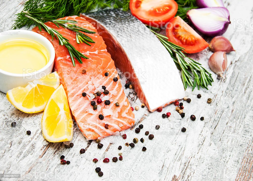 portions of fresh salmon fillet stock photo