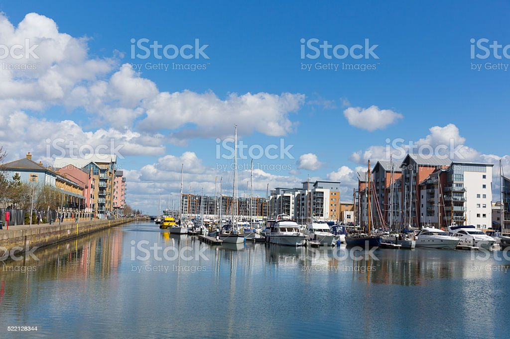 Portishead near Bristol Somerset England UK boats and apartments stock photo