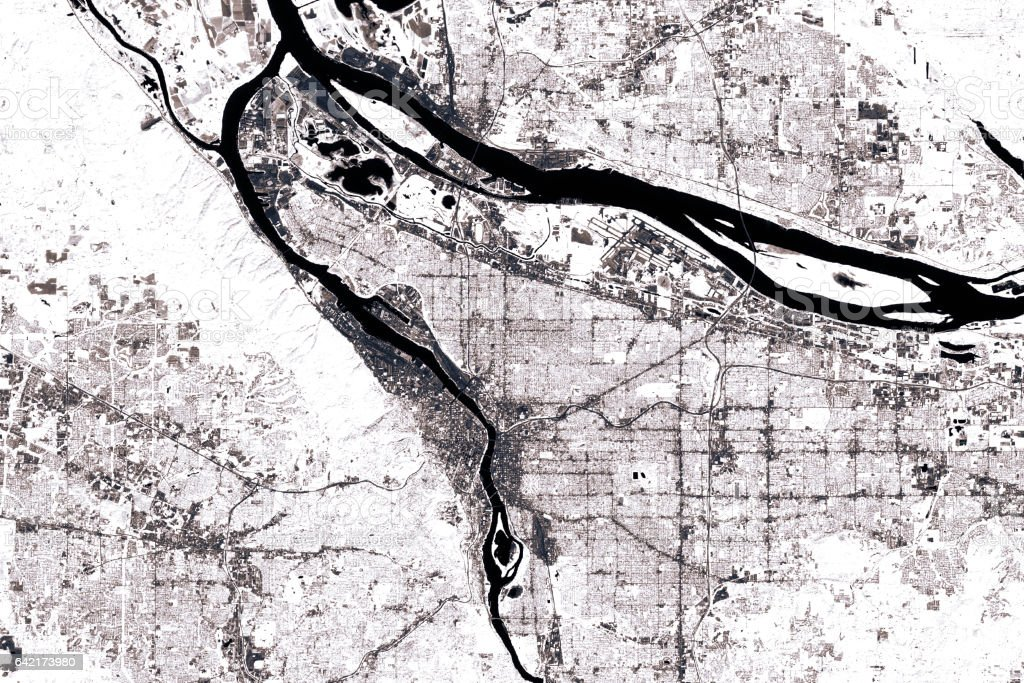Portland Abstract City Map Black And White stock photo