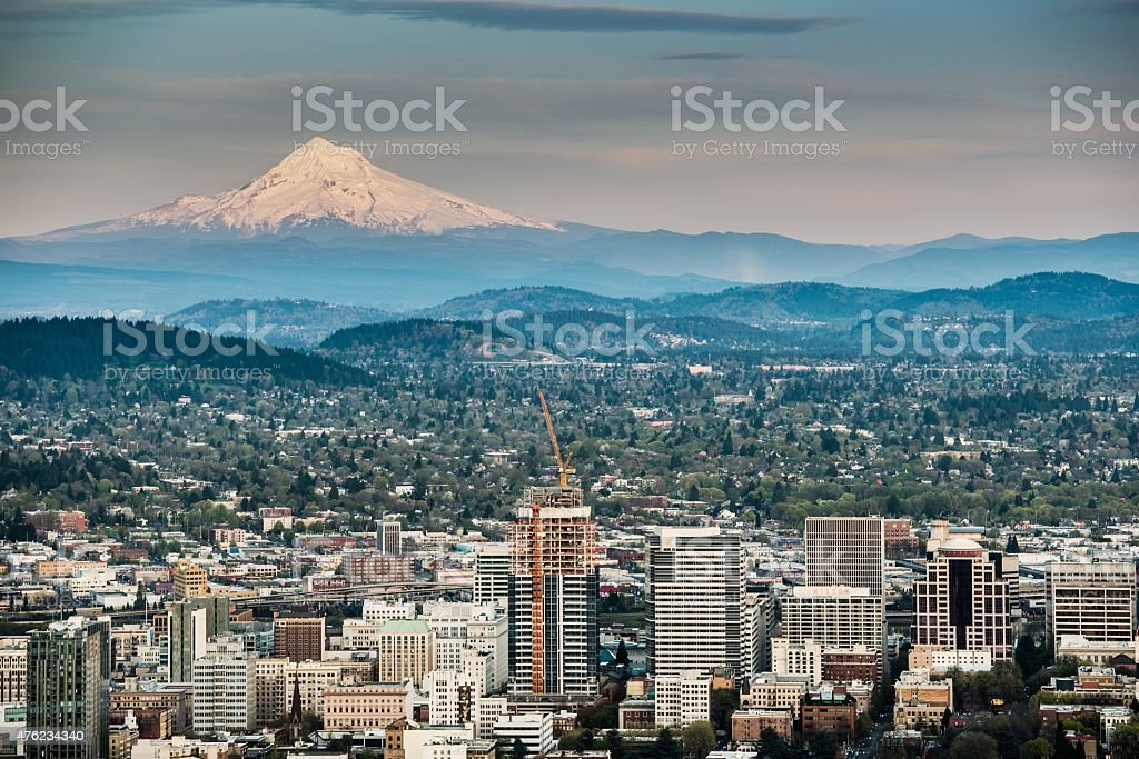Portland and Mount Hood stock photo