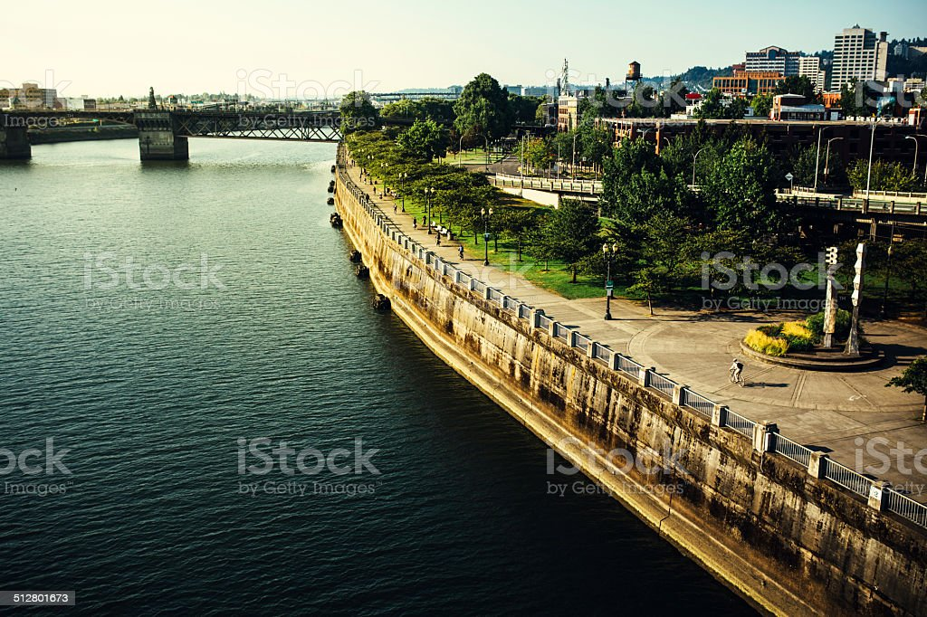 Portland and Tom McCall Waterfront Park stock photo