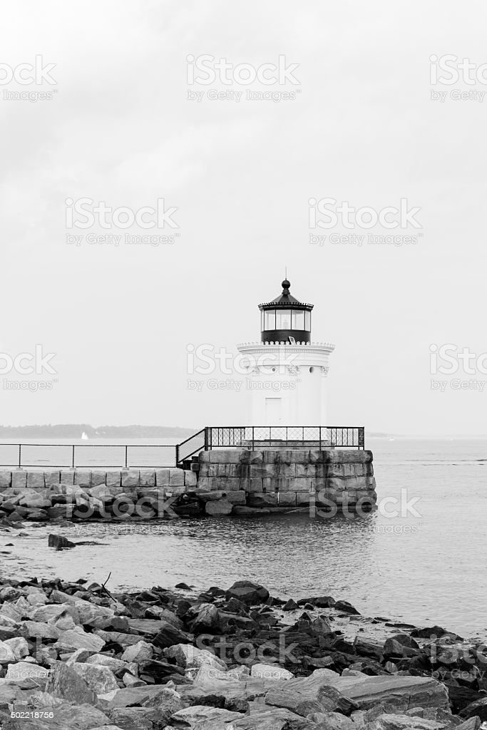 Portland Breakwater (Bug) Light in Black and White royalty-free stock photo