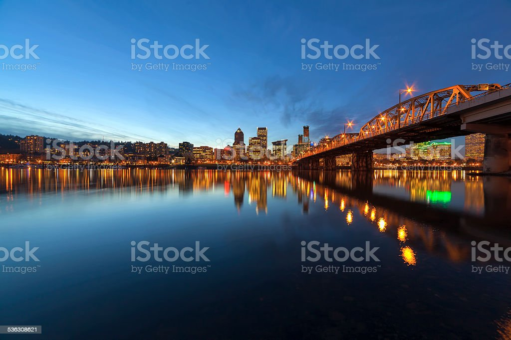 Portland Downtown Skyline by Hawthorne Bridge at Blue Hour stock photo