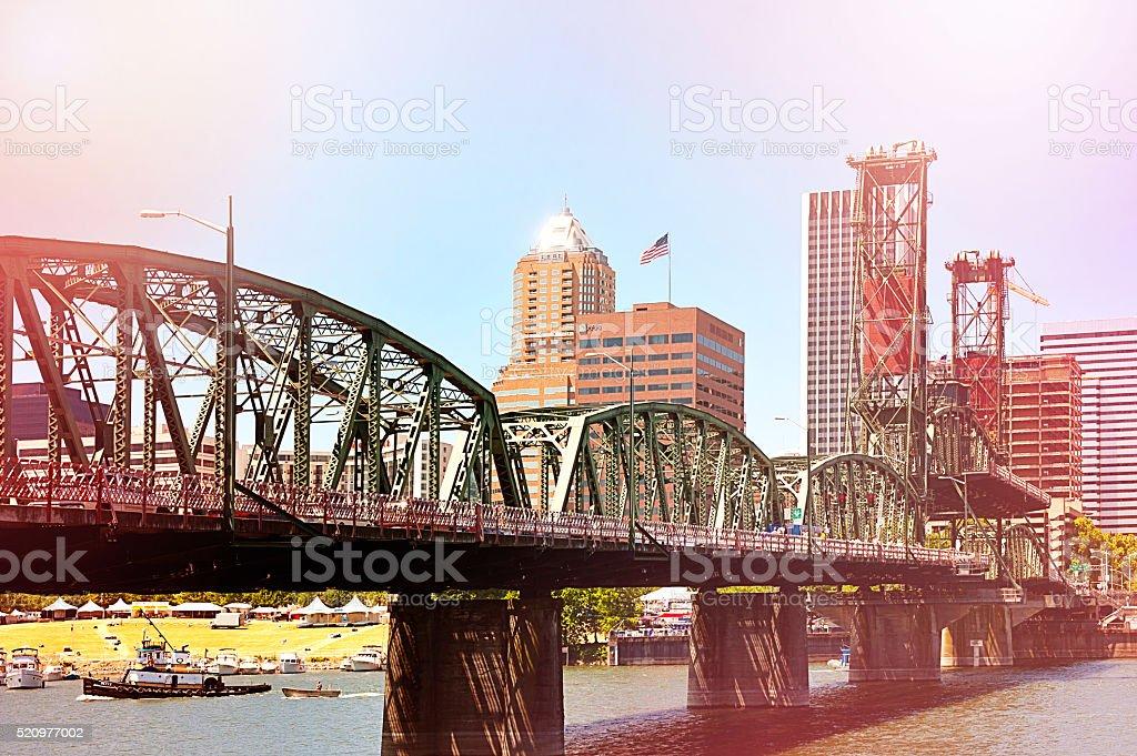 Portland Hawthorne Truss Bridge stock photo