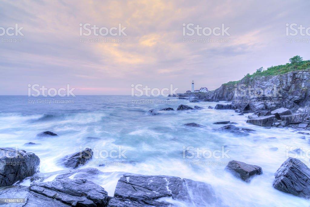 Portland Head Lamp and rocky Maine coastline stock photo