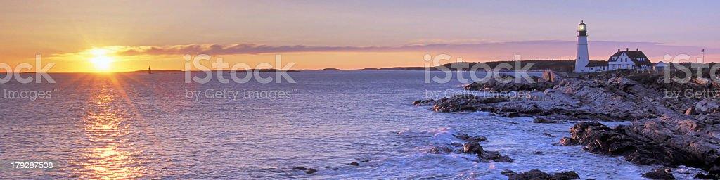 portland head light at sunset royalty-free stock photo