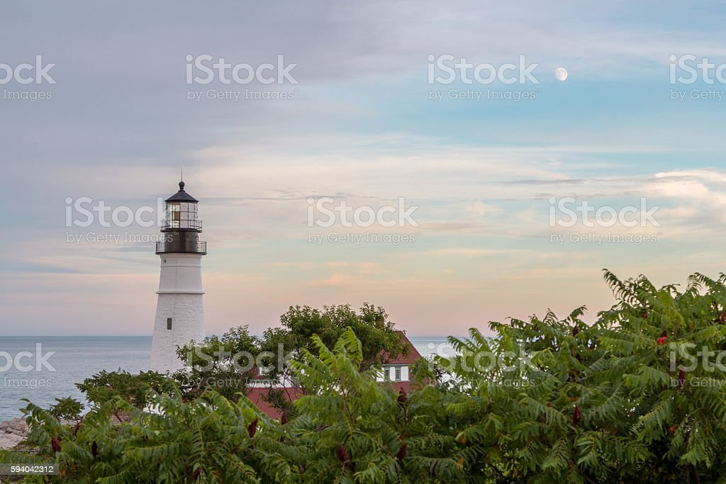 Portland Head Light, Cape Elizabeth, Maine at Sunset stock photo