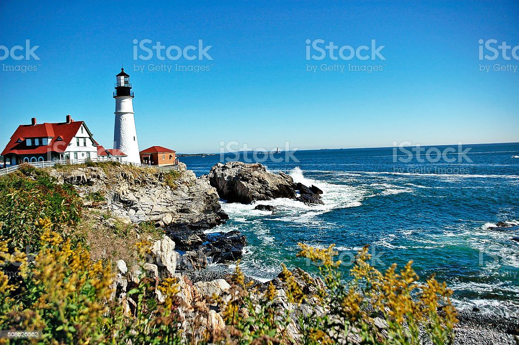 Portland Head Light Gulf of Maine on Cape Elizabeth stock photo