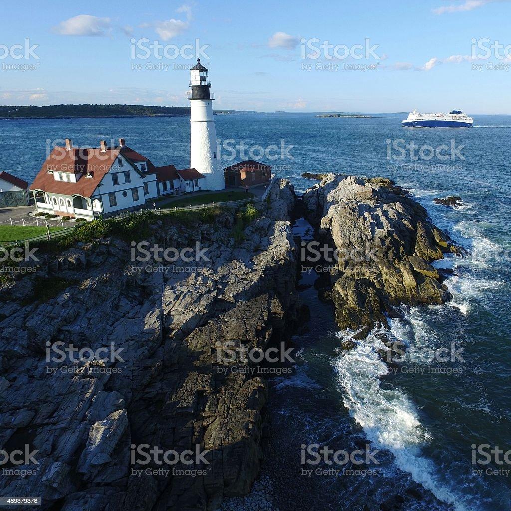 Portland Head Light House, Ship, Cape Elizabeth, Rocky Coast, Maine stock photo