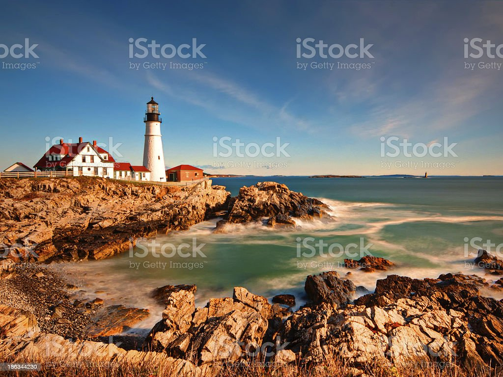 Portland Head Light in Maine at Sunrise stock photo