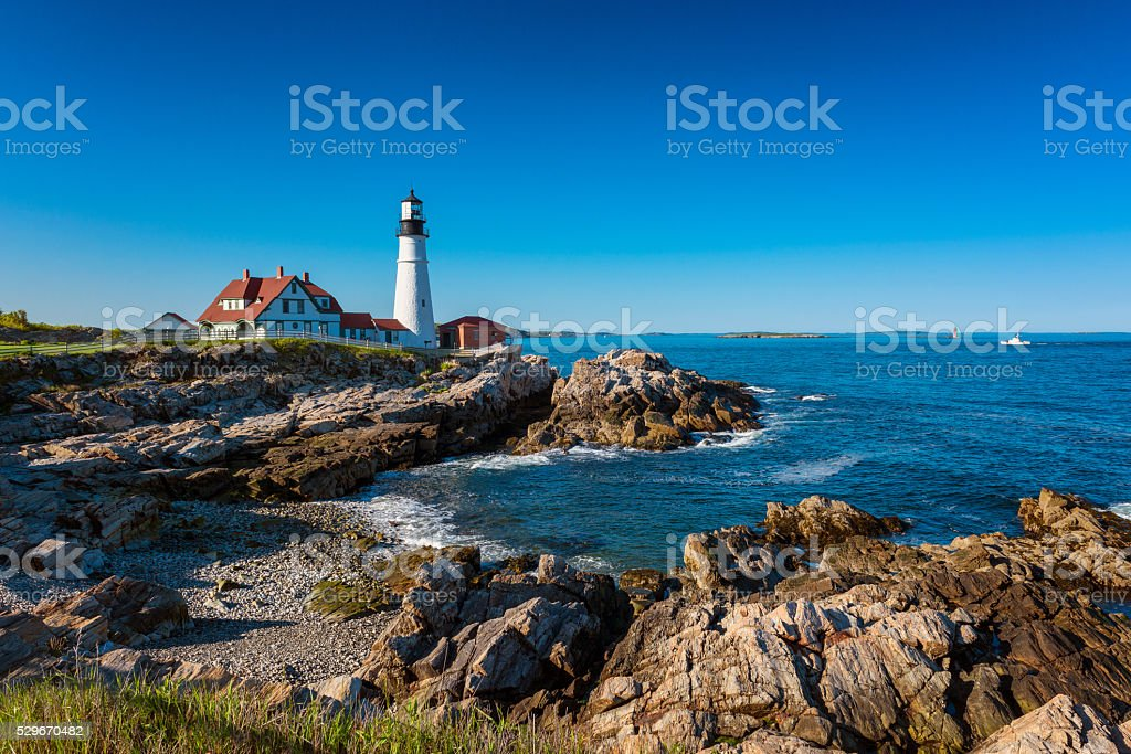 Portland Head Light Lighthouse in Cape Elizabeth Maine stock photo