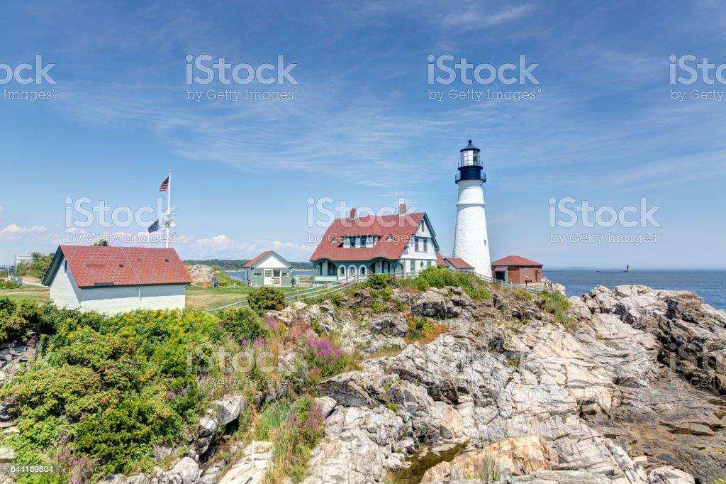 Portland Head Light lighthouse in Cape Elizabeth, Maine stock photo
