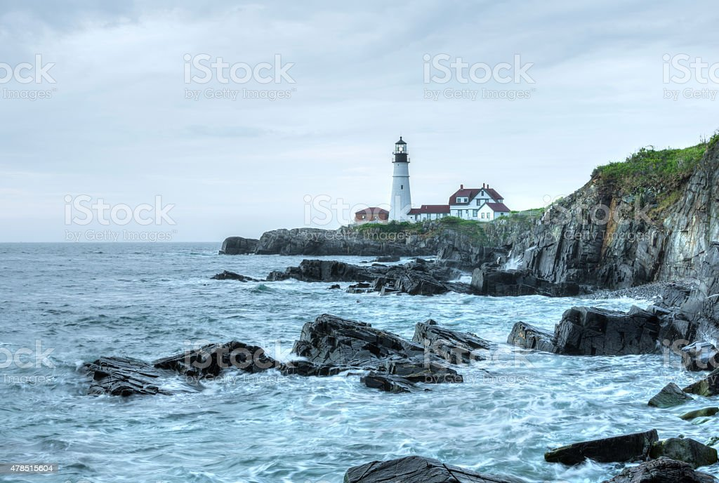 Portland Head Light lighthouse on rugged Maine coast stock photo