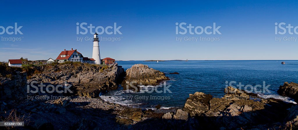 Portland Head Light Panorama stock photo