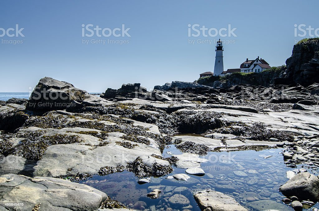 Portland Head Light summer day stock photo
