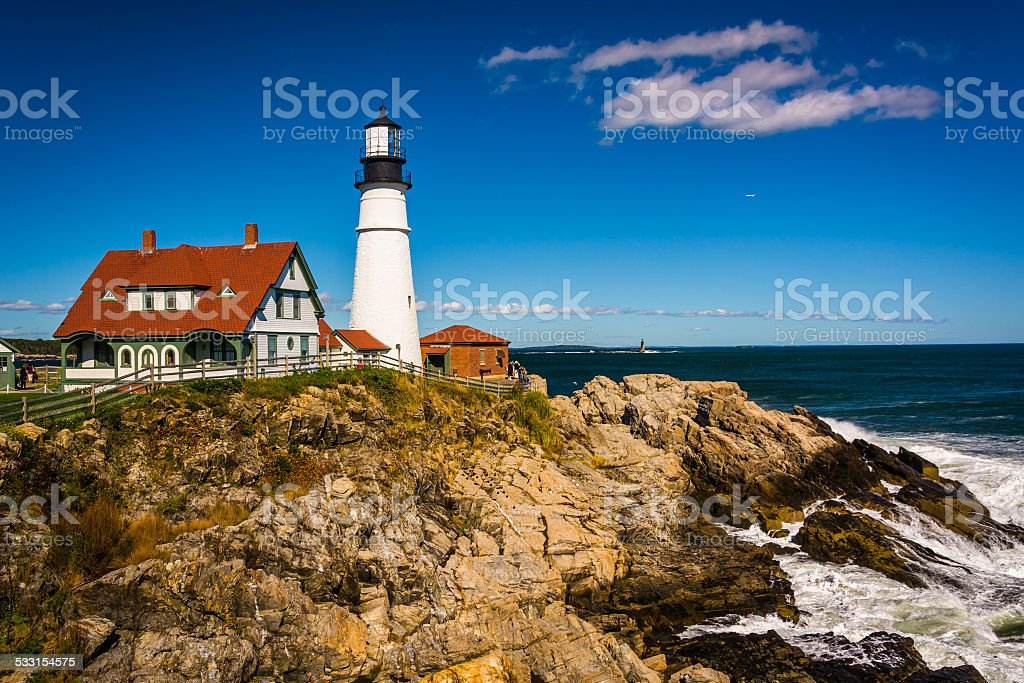 Portland Head Lighthouse and the Atlantic Ocean at Fort Williams stock photo