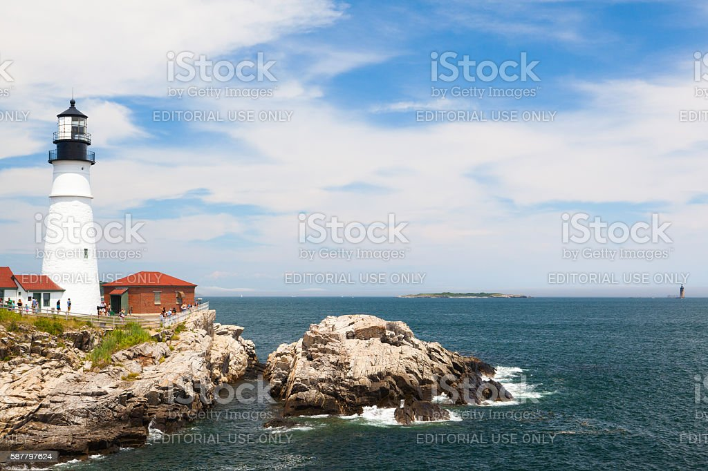 Portland Head Lighthouse at Fort Williams Park in Cape Elizabeth stock photo