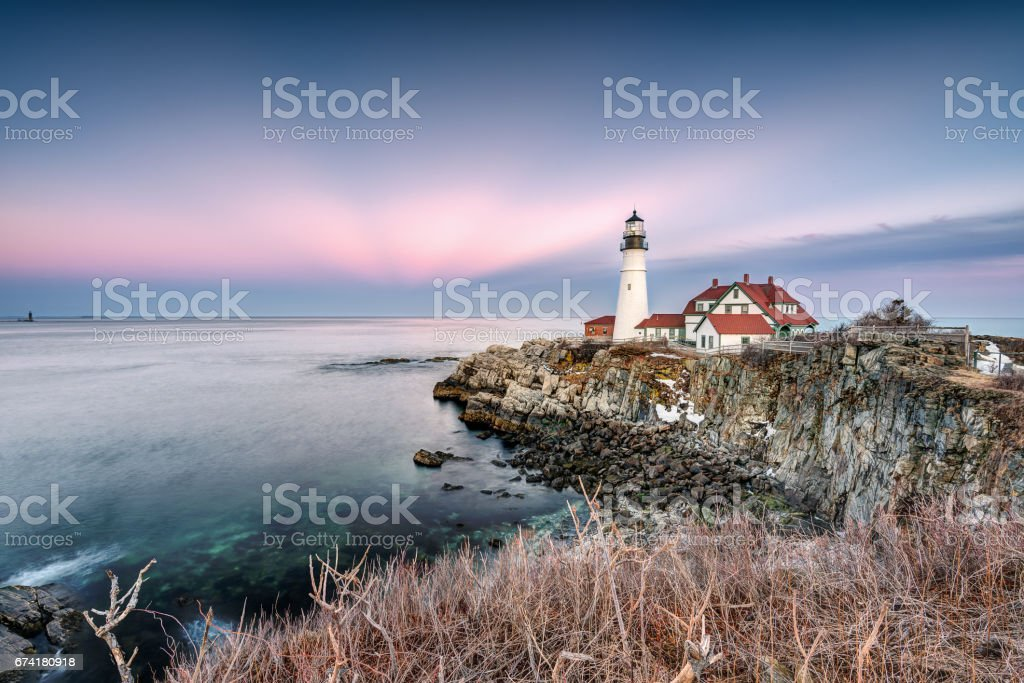 Portland Head Lighthouse During Sunset stock photo